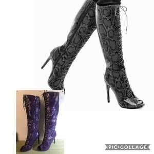 Paper Fox size 9 Serina lace-up boots purple/black